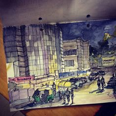Cityscape at evening time - urban-sketch by Sushanto