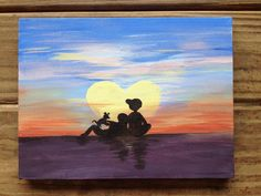 Acrylic canvas painting for the boyfriend! Sunset, people, dog!