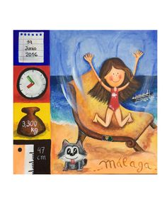 www.yucustomizedart.com Painting for another new born, Olivia, Jorge's sister. This time we focused in mummys job as psycologist and their home in Málaga, although daddy's profession and like for paddling is still reflected Malaga, Reflection, Daddy, Sisters, Baseball Cards, Illustration, Painting, Custom Art, Special Gifts