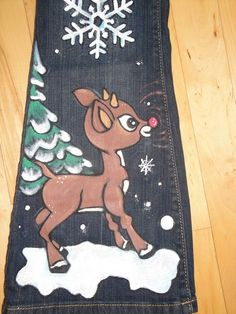 Hand Painted Rudolph Christmas Jeans by scatterbirdie on Etsy
