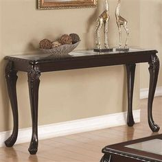 Shop Traditional Cappuccino Wood Glass Sofa Table w/Carved Legs with great price, The Classy Home Furniture has the best selection of to choose from Brass Console Table, Wooden Swings, Sofa Tables, Wood Glass, Home Furniture, Furniture Ideas, Entryway Tables, Traditional, Table Decorations