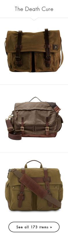 """""""The Death Cure"""" by smokeybill ❤ liked on Polyvore featuring men's fashion, men's bags, men's messenger bags, bags, green, mens messenger bag, mens canvas messenger bags, brown, mens brown leather messenger bag and fossil mens messenger bags"""
