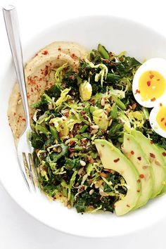 HUMMUS AND VEGGIE BREAKFAST BOWLS. 25 Clean-Eating Bowls to Make for Breakfast, Lunch and Dinner #purewow #lunch #dinner #breakfast #healthy #recipe #cooking #food #cleaneating #healthyeating #eatclean #cleaneatingbowls #healthylunches #healthydinners #hummus #breakfastbowl