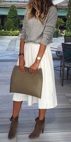 #outfit #ideas · Grey Sweater // Tulle Skirt // Suede Ankle Boots // Leather Tote