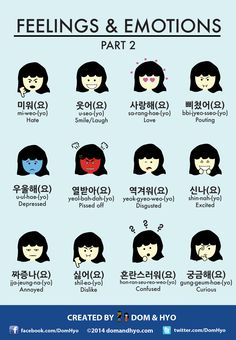 Educational infographic : Infographic: Feelings and Emotions in Korean Part 2 infographics Educational infographic : Infographic: Feelings and Emotions in Korean Part 2 Korean Verbs, Korean Slang, Korean Phrases, Korean Quotes, Learn Basic Korean, How To Speak Korean, Korean Words Learning, Korean Language Learning, Learn Hangul