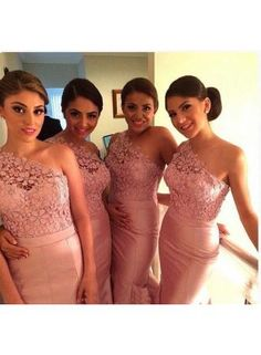 USD$101.97 - Glarmours Bridesmaid Dresses 2016 One Shoulder Lace Appliques Flower Sleeveless Sheath Pink Party Gowns - www.babyonlinedress.com
