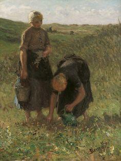 Bernard Blommers - Bloemen plukken in de duinen