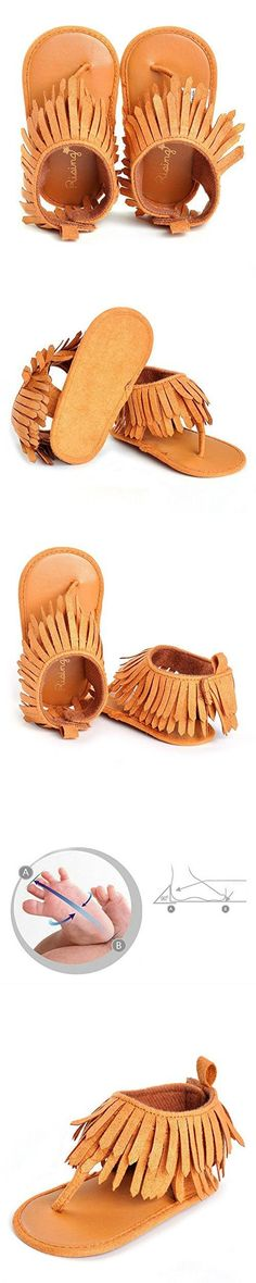 LIVEBOX Infant Baby Girls Moccasins Tassels Premium Soft Sole Anti-Slip Summer Prewalker Toddler Sandals (S: 0~6 months, Brown)