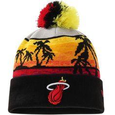 f01b2ff70ef Mens   Womens Miami Heat New Era Hardwood Classics Winter 2016 NBA Sports  Fashion Beachin Cuffed Knit Hat With Pom - Black