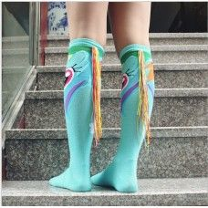 2pc Rainbow Pattern Knee High Socks and Wristbands Fancy Dress Pride Fun Run