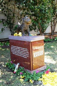 CALIFORNIA l Frank Baum's story, The Wizard of Oz, was made into a movie in The lovable pup that played Toto in the movie is honored in a memorial at the Hollywood Forever Cemetery in Los Angeles, California. Pet Cemetery, Cemetery Headstones, Famous Tombstones, Hollywood Forever Cemetery, Famous Graves, Land Of Oz, Yellow Brick Road, Over The Rainbow, Wizard Of Oz