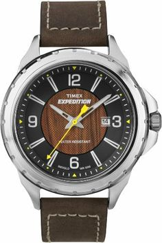 Timex Men's T49908 Expedition Rugged Field Wood Grain Dial Brown Leather Strap Watch Timex. $37.64. Water resistant to 50 M. Mineral crystal. Brass case with silver tone finish and wood grain dial. Quartz movement. Indiglo night-light. Save 37% Off!