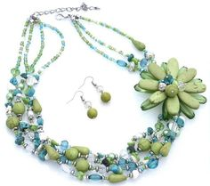 Lime Green and Turquoise Blue Stone, Pearl Beaded Flower 16 Inch Necklace Set;Silver Rhodium TrinketCentral http://www.amazon.com/dp/B00CAQ4HYC/ref=cm_sw_r_pi_dp_h5uMvb1XXFRBD