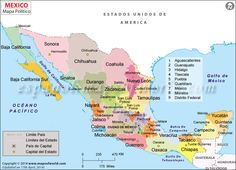 Political map of Mexico illustrates the country capital, surrounding countries, 31 states and their capitals (Mapa del Estado de Mexico) with state and international boundary. Cozumel Mexico, Mexico Resorts, States And Capitals, Mexico Culture, Country Maps, Mexico Travel, Mexico City Map, France, Central America