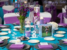 Pictures by Todd Photography Bat Mitzvah Decorations, Bat Mitzvah Themes, Table Decorations, Purple Flower Arrangements, Purple Flowers, Bar Mitzvah, Purple Wedding, Philadelphia