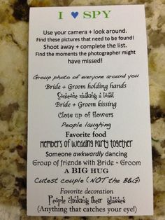 I Spy...Your Wedding! Cute idea!