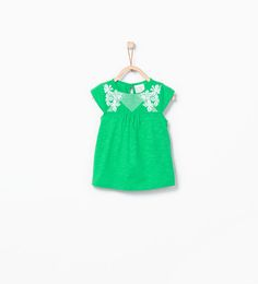 ZARA - KIDS - T-shirt with embroidered flowers