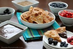 Dessert Fondue with Cinnamon Sugar Tortilla Chips. Perfect for the big game or any party.  #gameday