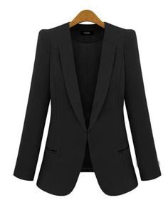 Black Long Sleeve Lapel One Covered Button Design Blazer