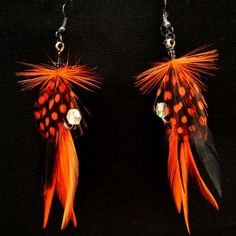 Feather Fishing Lure Earrings, Black and Orange, $15.00