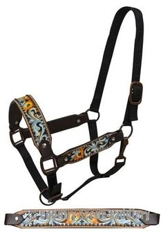 New! Showman® Blue Painted Filigree Belt Halter