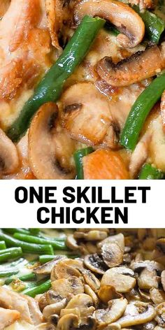 This green bean mushroom and chicken skillet is prepared with fresh ingredients only, without any canned cream soups. This green bean mushroom and chicken skillet is prepared with fresh ingredients only, without any canned cream soups. Quick Chicken Recipes, Turkey Recipes, Quick Meals, Dinner Recipes, Cooking Recipes, Healthy Recipes, Skillet Recipes, Skillet Meals, Cooking Food