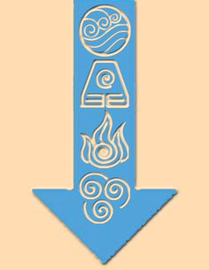 "This is my idea for a tattoo I might be getting. I am looking to get it on my upper arm. My idea was to get Aang's arrow tattoo with the elements ""cut"" out of it, hence the skin colored background (I wanted to differentiate between what would actually be tattooed and what would be my arm.)"