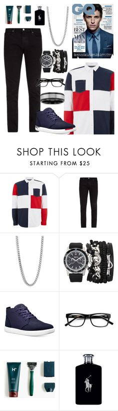 """""""Untitled #101"""" by mz-maumau ❤ liked on Polyvore featuring Topman, Frame, Perepaix, A.X.N.Y., Timberland, J.Crew, Ralph Lauren, Blue Nile, men's fashion and menswear"""