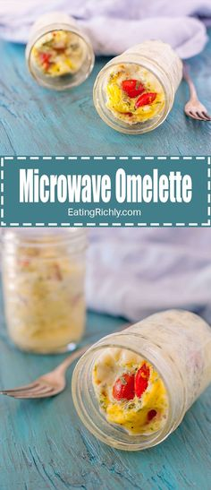 This microwave omelette to go is the perfect quick and easy hot breakfast in a jar. From EatingRichly.com