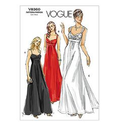 SZ 12/14/16 - Vogue Dress Pattern V8360 - Misses' Sleeveless Empire Fit and Flare Formal Dress in 3 Variations