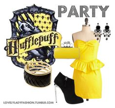 Hufflepuff Party by sad-samantha on Polyvore featuring Giuseppe Zanotti, Jane Norman, Armani Exchange and Coast