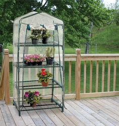 Grow plenty of plants with a 4-Shelf Greenhouse. Equipped with two front zippers, the PVC cover easily slides on and off the greenhouse frame when needed.