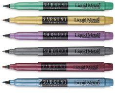 Sargent Art Liquid Metals Metallic Marker Sets - Set of 6, Fine Point