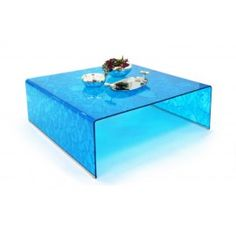 Blue Curved Glass Square Coffee Table