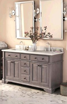 Update your bath interior with the Casanova vanity from Lanza.  Featuring a distressed antique grey finish, this vanity has a transitional design and has plenty of storage with three drawers and four doors.