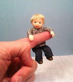 Ooak Mini BOY Poseable Child Little Miniature Dollhouse 1:12 Toddler Art Doll
