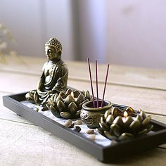 Buddha Zen Buddha Incense Candle Ornaments Incense Burner Incense Incense Censer Aromatherapy Candle Holder
