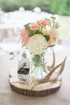 Simple country wedding centerpieces picture of a rustic wedding centerpiece with a wood slice a succulent antlers and pastel blooms simple country church Wedding Signs, Diy Wedding, Wedding Flowers, Dream Wedding, Wedding Day, Wedding Rustic, Antler Wedding Decor, Trendy Wedding, Elegant Wedding