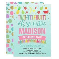 Two Tti Frutti Party Invitation 2nd Birthday 2 Year Old Girl
