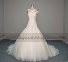 One Shoulder Beaded Ball Gown Wedding Dress 2014 Chapel Train Fit and Flare Tulle Bridal Gown on Etsy, $392.98 CAD