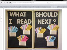 Library book recommendation bulletin board. The children created book recommendation book marks for other children.