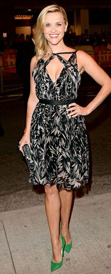 Reese Witherspoon paired a Jason Wu Resort 2014 botanical print chiffon dress with green Jimmy Choo pumps and a Jason Wu clutch for the premiere of her new film.