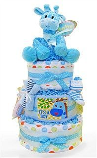 Baby Giraffe Diaper Cake For Baby Boy