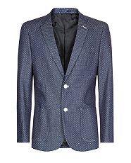 Blue (Blue) Dark Blue Tailored Polka Dot Denim Jacket | 302056240 | New Look