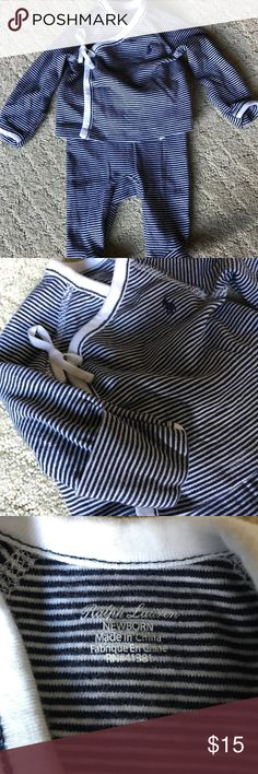 Ralph Lauren Layette Boys Boy's Blue & White pinstriped crossover Top & Footie legging set. Sleeves have fold over gloves. Ralph Lauren Matching Sets