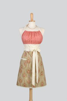Cute Kitsch Retro Apron , Full Kitchen Womens Apron in in Red Cream and Green Paisley Damask and Ivory