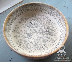 Wooden Doodle Bowl by Flora Chang | Happy Doodle Land