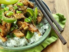 Stir-fried sesame seitan with oyster mushrooms and green bell peppers.