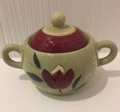 dc6d183b952 Stangl Pottery Magnolia Sugar Bowl with Lid Green Burgundy Trenton NJ  Vintage #Stangl Fine China