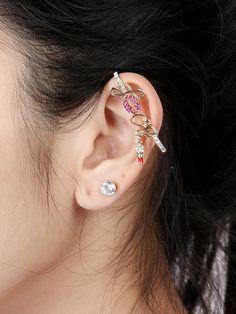 Golden LOVE Shape Rhinestone Detail Earring Pack
